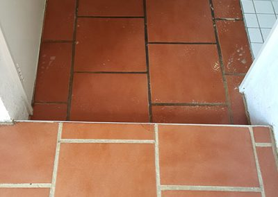 Teracotta tiles before and after