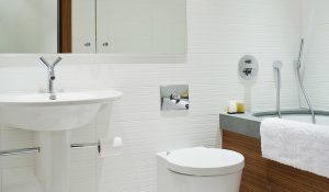 Neutral white tiles