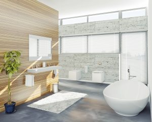 light earthy bathroom tiles